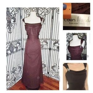 Eden Maids Dresses - Floor Length Chiffon Gown in Chocolate